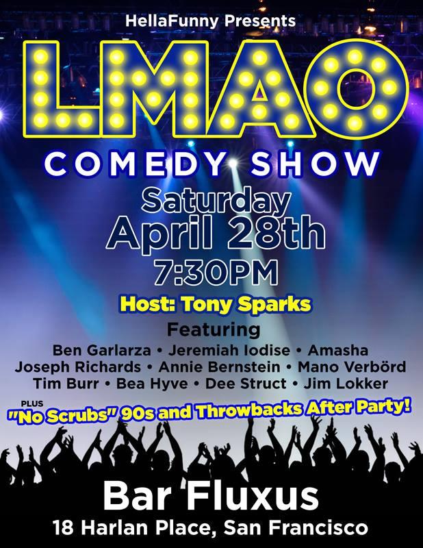 LMAO comedy show flier 4.28.18